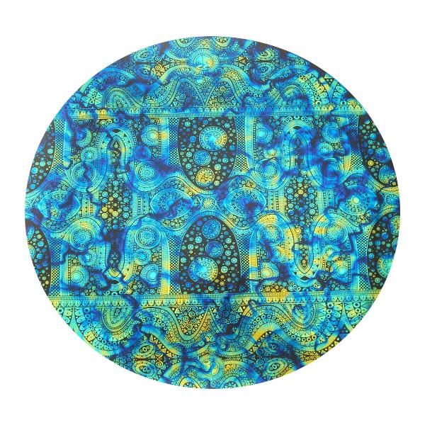 CBS Dichroic Coating Cyan/ Copper Fusion with Stell Original Pattern on Thin Black Glass - COE96