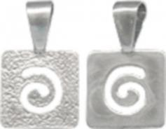 Sterling Silver Square Pad with Spiral Jewelry Bail