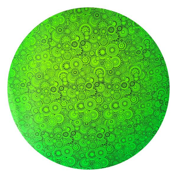 CBS Dichroic Coating Emerald Green with Stell Sundials Pattern on Thin Black Glass - COE96